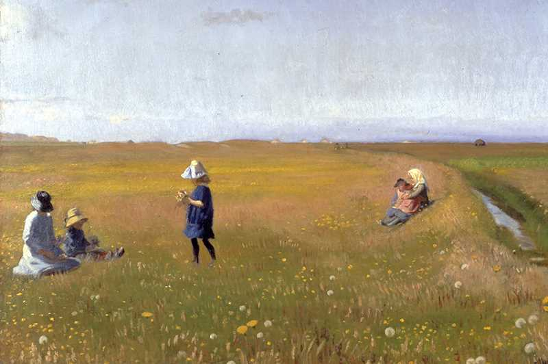 Painting of women and children picking flowers in meadow