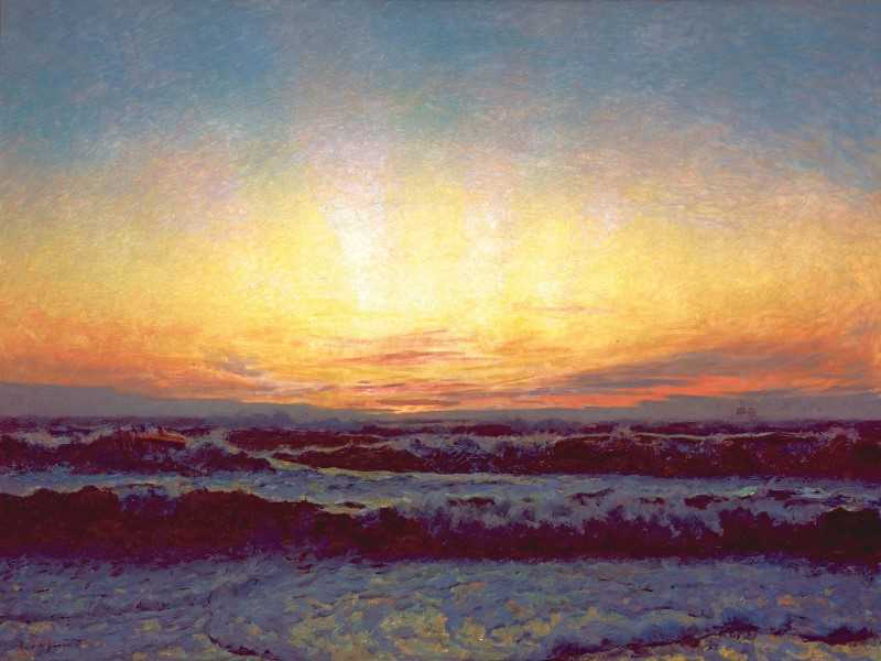 Painting of sunset behind the sea