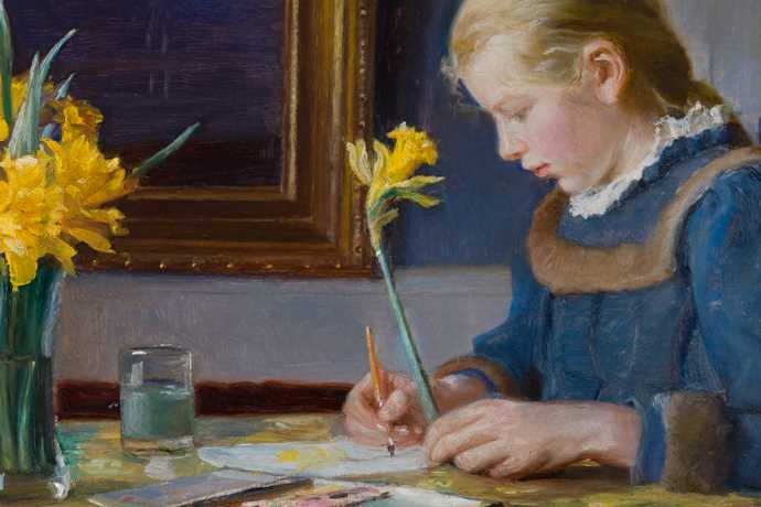 girl painting with daffodils