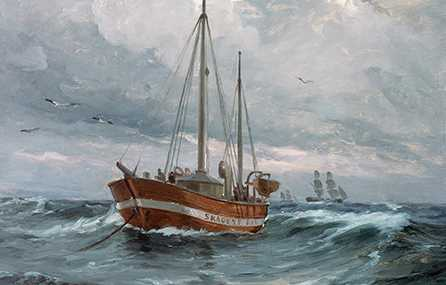 A boat on the sea in stormy weather